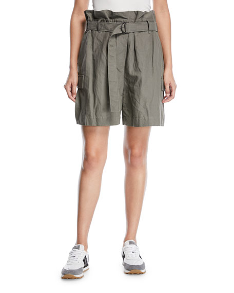 Brunello Cucinelli Cotton Paperbag Cargo Shorts with D-Ring