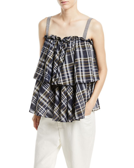 Brunello Cucinelli Sleeveless Dark Plaid-Cotton Tiered Top with