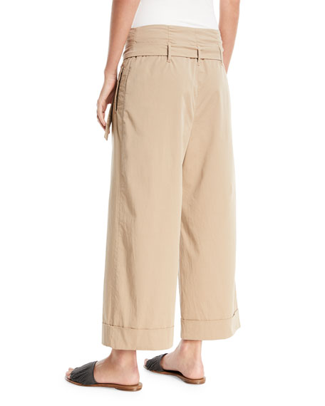 Mid-Rise D-Ring Belt Wide-Leg Cotton Ankle Pants