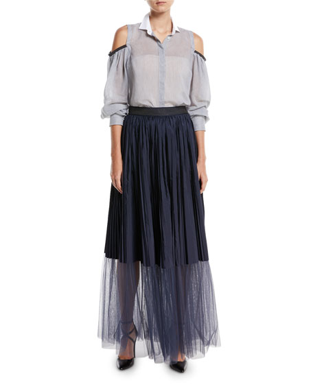 Long Tulle Pleated Sheet-Hem Skirt