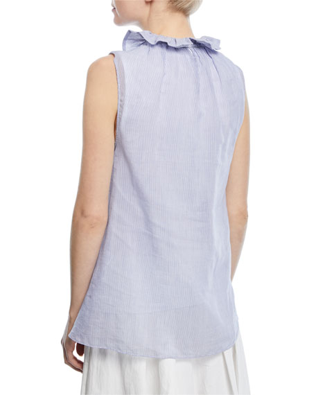 Sleeveless Ruffle-Collar Micro-Striped Cotton Voile Top