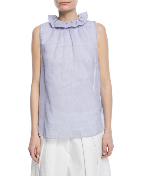 Brunello Cucinelli Sleeveless Ruffle-Collar Micro-Striped Cotton