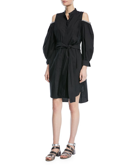 Crinkled Cotton Cold-Shoulder Long-Sleeve Shirtdress
