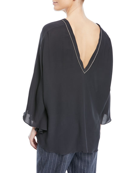 Double V-Neck Silk Capelet with Monili Trim
