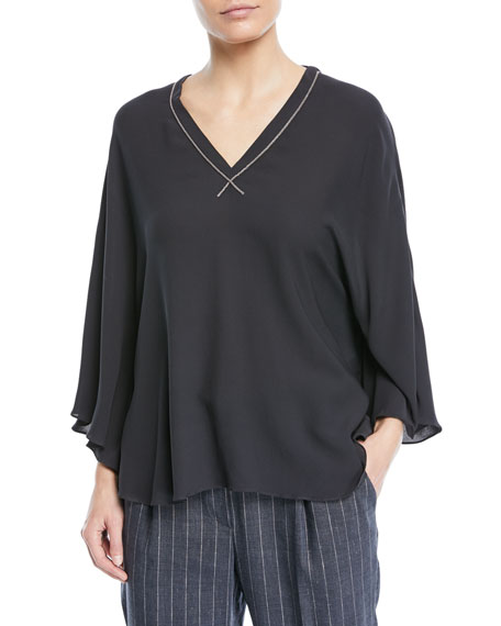 Brunello Cucinelli Double V-Neck Silk Capelet with Monili