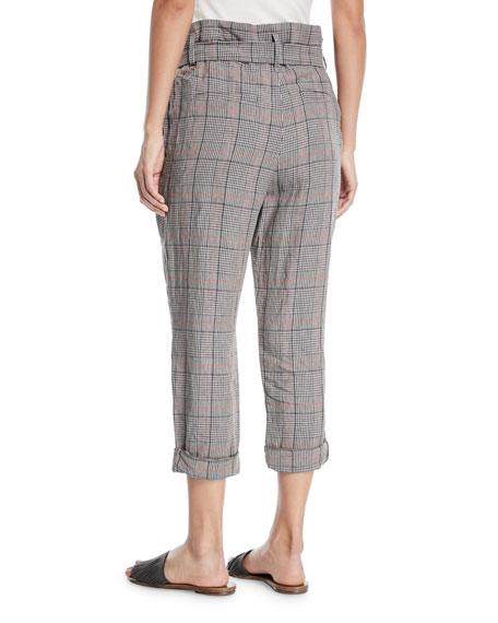 Plaid-Linen Belted High-Waist Crop Pants