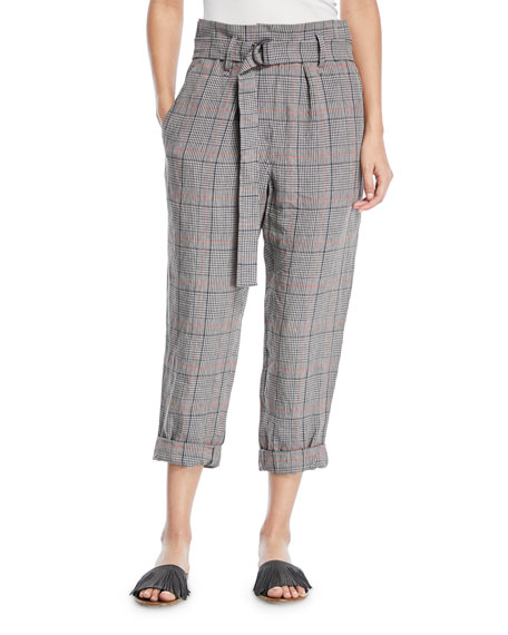 Brunello Cucinelli Plaid-Linen Belted High-Waist Crop Pants