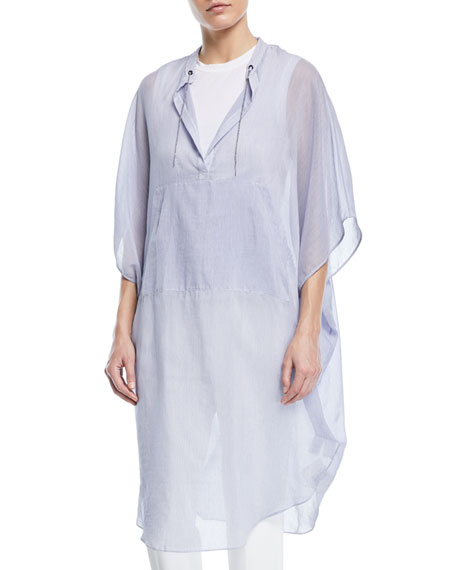 Microstripe Cotton Voile Tunic Poncho with Monili Ties