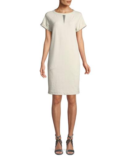 Crewneck Short-Sleeve Straight Felpa Dress w/ Monili Insert