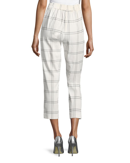 Windowpane Plaid High-Waist Cropped Pants