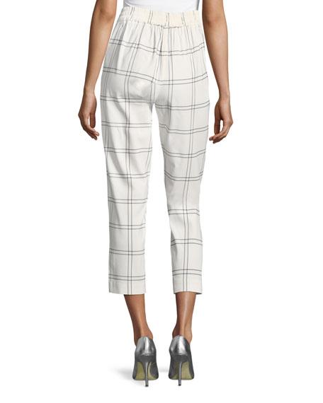 Windowpane Plaid High-Waist Cropped Pants
