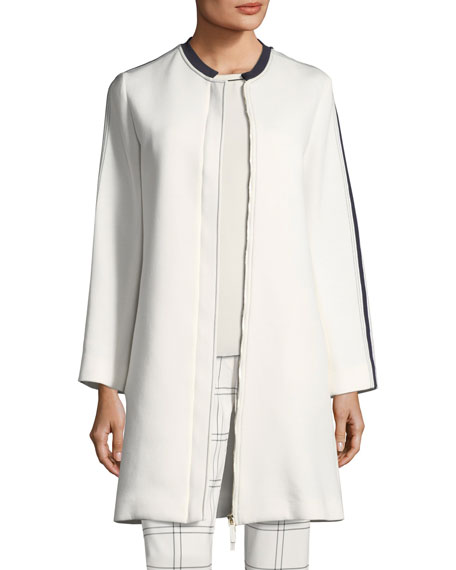 Scuba Jersey Long-Sleeve Slim Coat with Piping