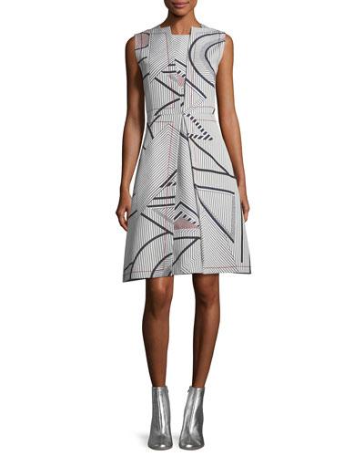 Sleeveless Multi-Print Jacquard Dress