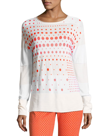 Crewneck Long-Sleeve Dot-Print Sweater