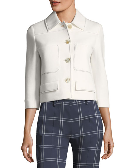 Button-Front Scuba-Jersey 3/4-Sleeve Jacket with Piping