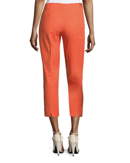 Audrey Side-Zip Pique Capri Pants