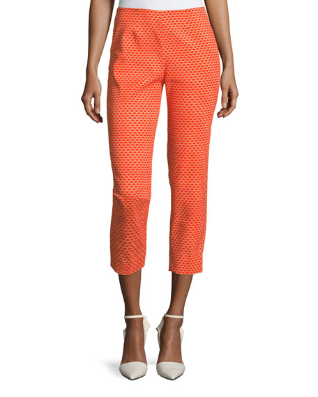 Piazza Sempione Audrey Side-Zip Pique Capri Pants