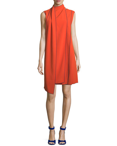 Sleeveless Layered Scarf A-Line Dress with Piping
