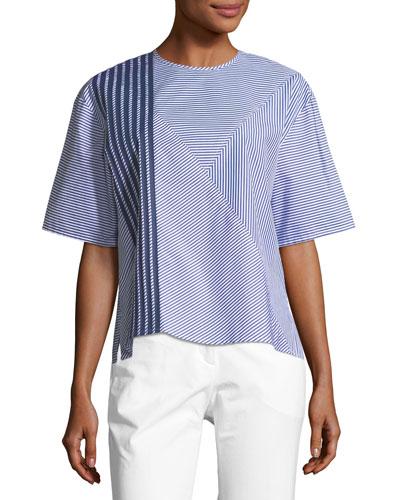 Crewneck Half-Sleeve 2-Way Striped Poplin Shirt