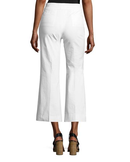 Mid-Rise Flared-Leg Cotton Gabardine Pants