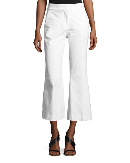PIAZZA SEMPIONE Mid-Rise Flared-Leg Cotton Gabardine Pants in White