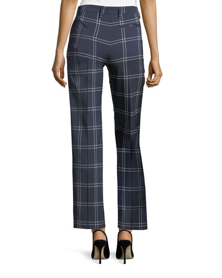 Windowpane Straight-Leg Crepe Pants