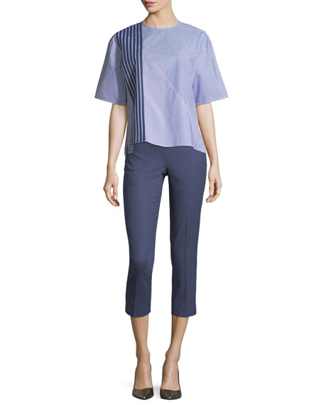 Audrey Dot-Print Cropped Pants