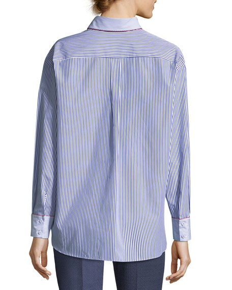 Two-Way Striped Poplin Shirt with Contrast Piping
