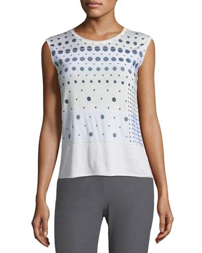 Dot-Print Sleeveless Pullover Shell