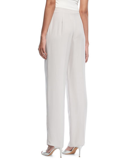 Wide-Leg Tie-Front Silk Pants