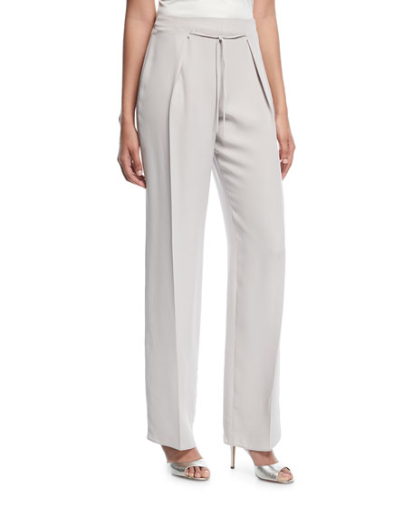 Emporio Armani Wide-Leg Tie-Front Silk Pants and Matching