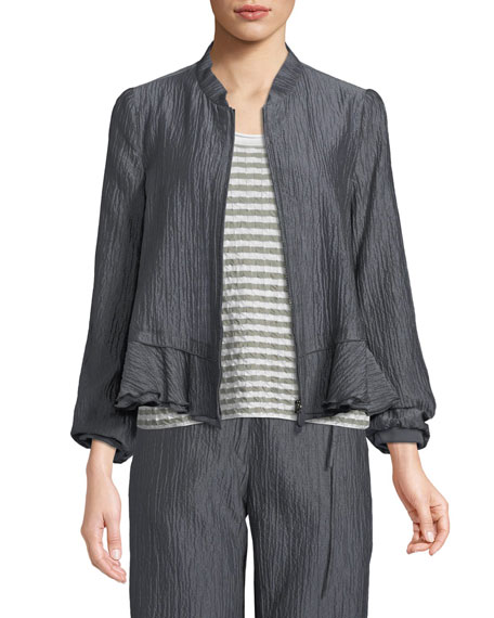 Emporio Armani Crinkle-Cotton Zip-Front Peplum Jacket and