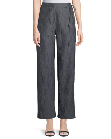 Side-Tie Straight-Leg Crinkle Cotton Pants