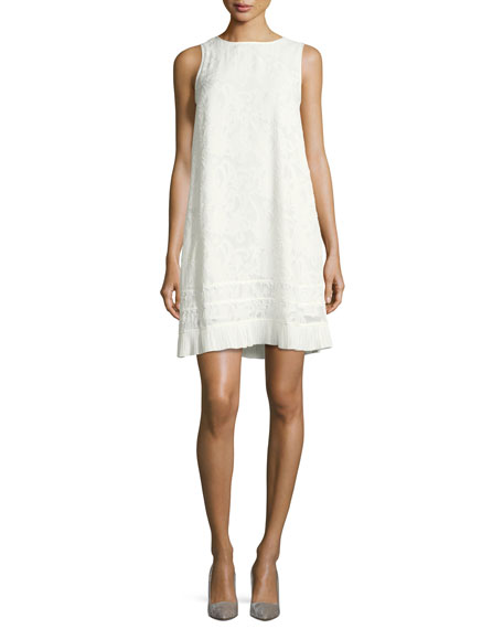 Sleeveless Fil-Coupe A-Line Dress