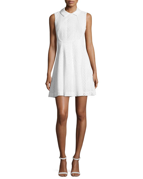 Emporio Armani Sleeveless Eyelet Lace Fit-and-Flare Dress