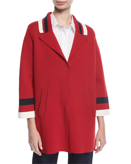 Varsity Stripe Knit Caban Coat