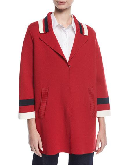 Emporio Armani Varsity Stripe Knit Caban Coat