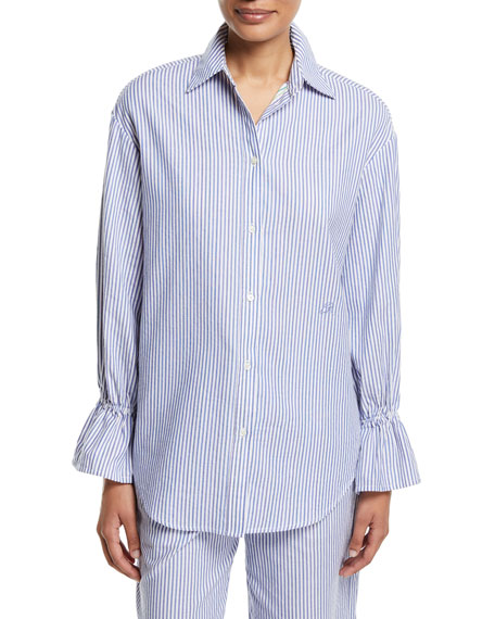 Emporio Armani Striped Poplin Oversized Shirt with Flared