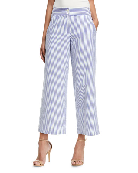 Emporio Armani Striped Cotton Wide-Leg Cropped Pants