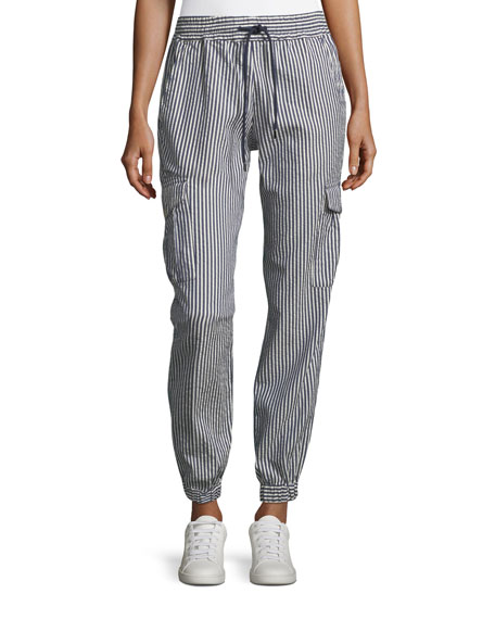 Emporio Armani Seersucker Striped Elastic-Cuff Cotton Pants