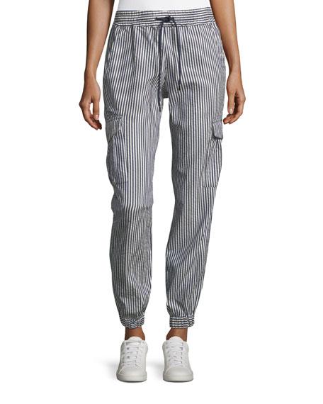 Seersucker Striped Elastic-Cuff Cotton Pants