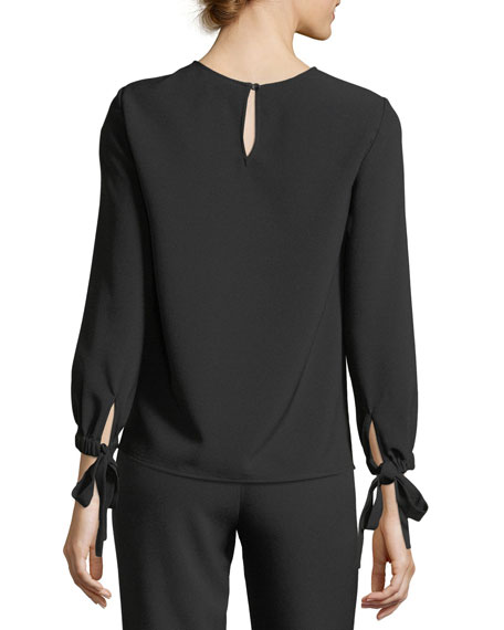 Tie-Wrist Long-Sleeve Blouse