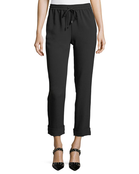 Straight-Leg Drawstring Ankle Pants