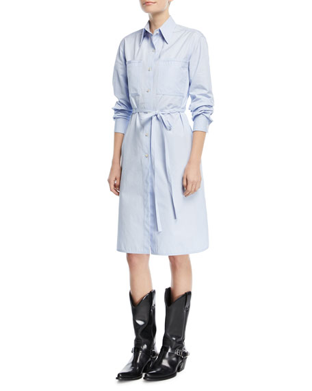 CALVIN KLEIN 205W39NYC Button-Front Long-Sleeve Poplin Shirtdress
