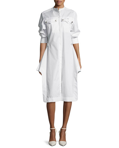High-Neck Button-Front Belted Striped Shirtdress