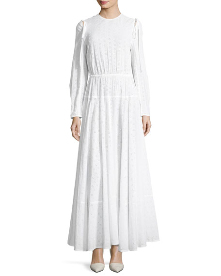 Crewneck Open-Back Broderie Anglais Long Dress