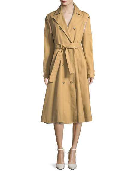 CALVIN KLEIN 205W39NYC Double-Breasted Swing Trench Coat with