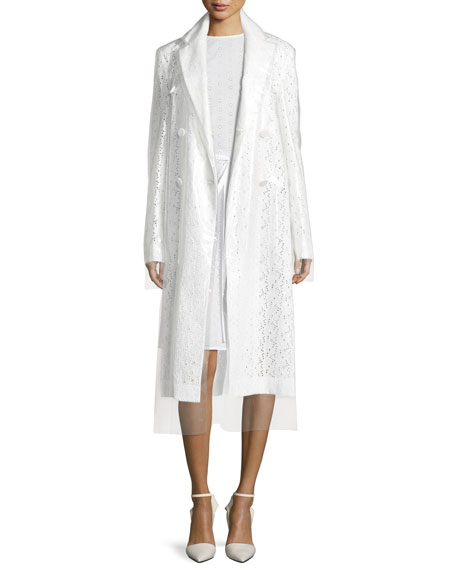 Double-Breasted 2-Layer Embroidered Long Coat