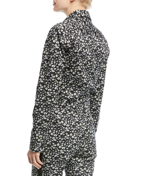 Daisy-Print Long-Sleeve Button-Front Top