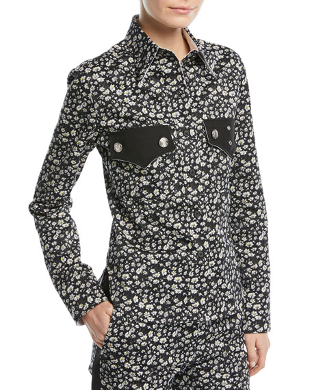 CALVIN KLEIN 205W39NYC Daisy-Print Long-Sleeve Button-Front Top